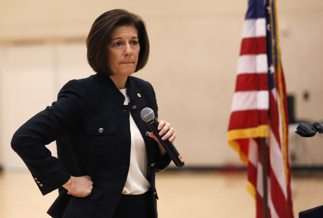 U.S. Senator, D-Nev, Catherine Cortez Masto pauses while speaking to a large crowd about about immigration rights during a Nevada Hispanic Caucus event at the East Las Vegas Community Center on Sa ...