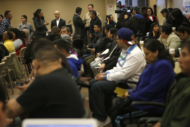 A crowd began to form before a Nevada Hispanic Caucus event at the East Las Vegas Community Center on Saturday, Feb. 18, 2017, in Las Vegas. (Christian K. Lee/Las Vegas Review-Journal) @chrisklee_jpeg