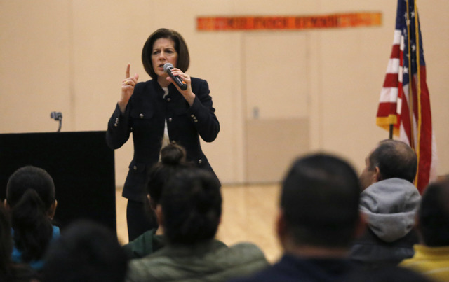 U.S. Senator, D-Nev, Catherine Cortez Masto speaks to a large crowd about about immigration rights during a Nevada Hispanic Caucus event at the East Las Vegas Community Center on Saturday, Feb. 18 ...