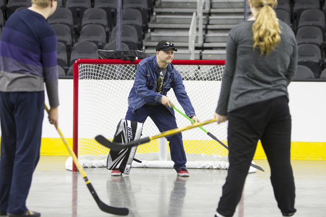 Peter Smieszkal of Henderson attends the Vegas Golden Knights 24-hour open house event at T-Mobile Arena, Tuesday, Feb. 21, 2017, in Las Vegas. The event was open for season ticket holders, prospe ...