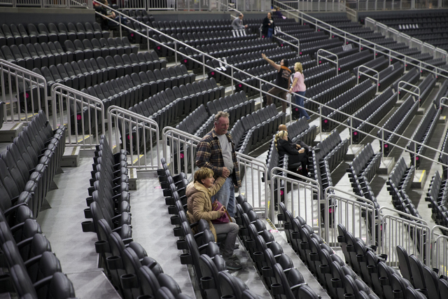 People attend the Vegas Golden Knights 24-hour open house event at T-Mobile Arena, Tuesday, Feb. 21, 2017, in Las Vegas. The event was open for season ticket holders, prospective season ticket mem ...
