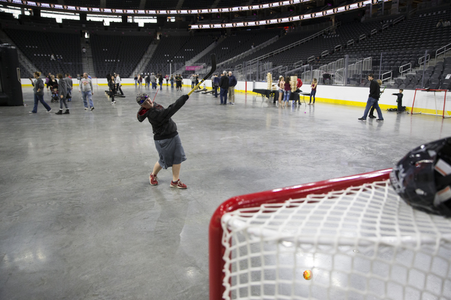 Ridge Ashcraft, 11, of Las Vegas attends the Vegas Golden Knights 24-hour open house event at T-Mobile Arena, Tuesday, Feb. 21, 2017, in Las Vegas. The event was open for season ticket holders, pr ...