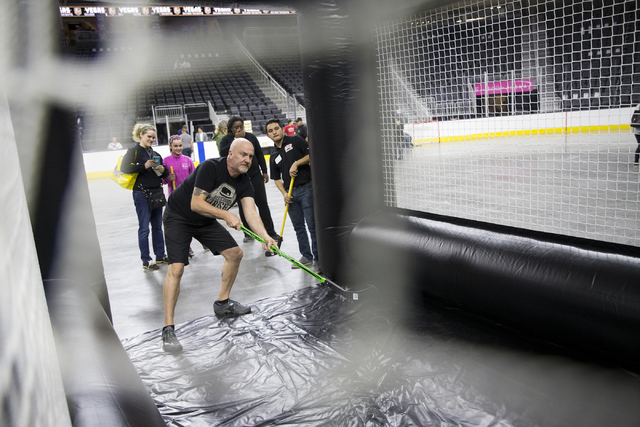 Kevin Lewis of New York attends the Vegas Golden Knights 24-hour open house event at T-Mobile Arena, Tuesday, Feb. 21, 2017, in Las Vegas. The event was open for season ticket holders, prospective ...