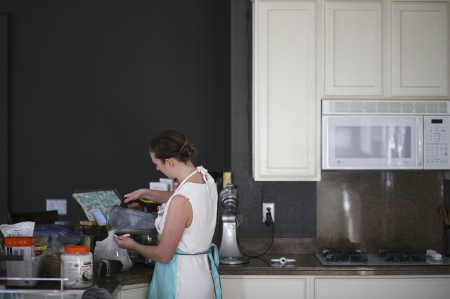 Brittany Henderson prepares oatmeal cinnamon raisin lactation cookies at her home in the Summerlin area of Las Vegas on Wednesday, Feb. 1, 2017. Henderson recently started selling food she prepare ...