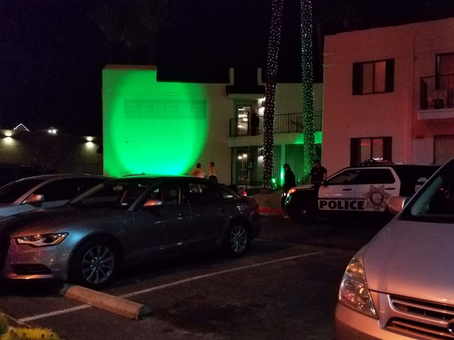 A man was beaten with a crowbar inside a room at the Serene Vegas, 455 E. Harmon Ave., late Thursday night.