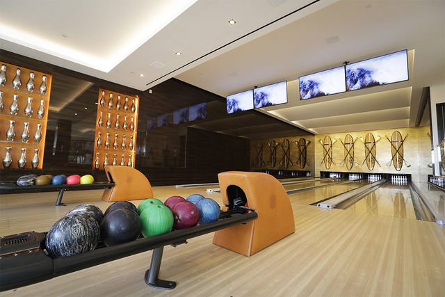 This Thursday, Jan. 26, 2017, photo shows the four-lane bowling alley at a $250 million mansion in the Bel-Air area of Los Angeles. At $250 million, the new mansion in the exclusive Bel-Air neighb ...