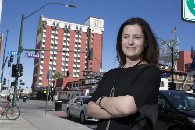Journalist Aimee Groth, author of The Kingdom of Happiness: Inside Tony Hsieh's Zapponian Utopia, in downtown Las Vegas on Wednesday, Feb. 22, 2017. (Erik Verduzco/Las Vegas Review-Journal) ...