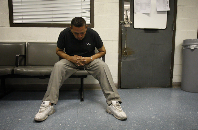 Thirty-nine-year-old Jose Martinez Cornejo sits in an ICE facility in Las Vegas on Sept. 24, 2010 after he was arrested during a three day ICE Fugitive Operation. Cornejo as been previously arrest ...