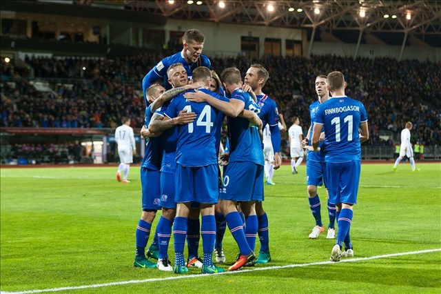 Iceland celebrates during a Euro qualifier last year at home. (Courtesy of Iceland Communications)