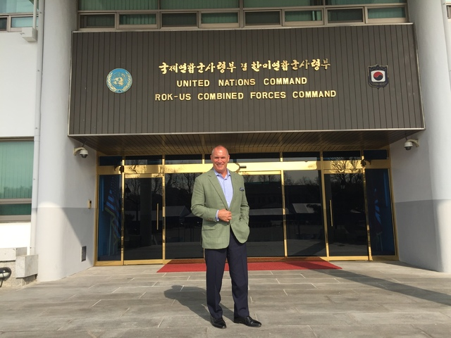 Missile Defense Advocacy Alliance Chairman Riki Ellison stands outside the United Nations Combined Forces Command in South Korea on Monday, Feb. 13, 2017. Courtesy/Missile Defense Advocacy Alliance