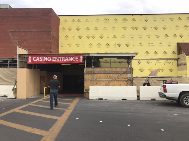 A man walks into the casino entrance at the Palace Station, which is undergoing construction, on Feb. 16, 2017, in Las Vegas. (Kailyn Brown/View) @kailynhype