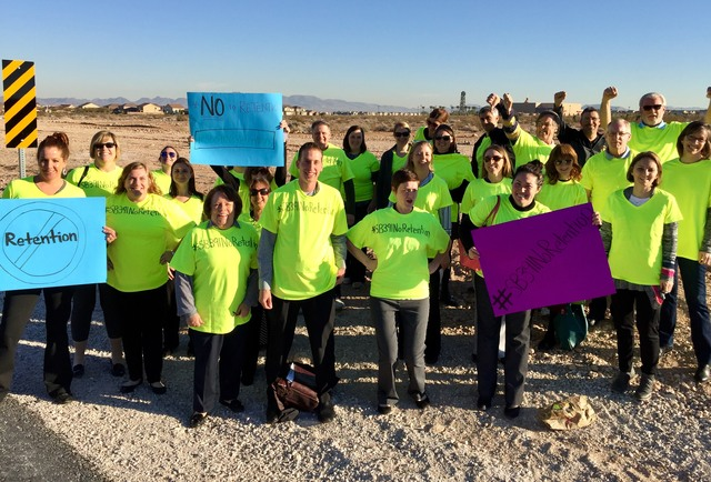 School psychologists with the Nevada Association of School Psychologists gather for a picture on Jan. 31, 2017, in Las Vegas to call for removal of the retention requirement in the Read by Grade T ...
