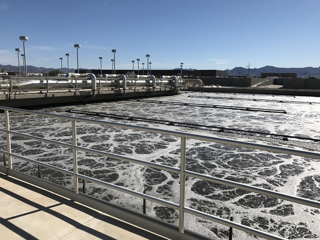 Water is pictured in the Aeration Basin at the Clark County Water Reclamation District in Las Vegas on Tuesday Feb. 14, 2017. (Raven Jackson/Las Vegas Review-Journal) @ravenmjackson
