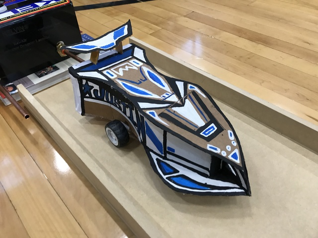 A student's crafted race car is seen Feb. 15, 2017 in the gym of Johnston Middle School. (Raven Jackson/View) @ravenmjackson