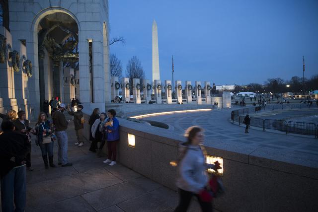 People tour the World War II Memorial on Thursday, Jan. 19, 2017, in Washington. (Erik Verduzco/Las Vegas Review-Journal) @Erik_Verduzco