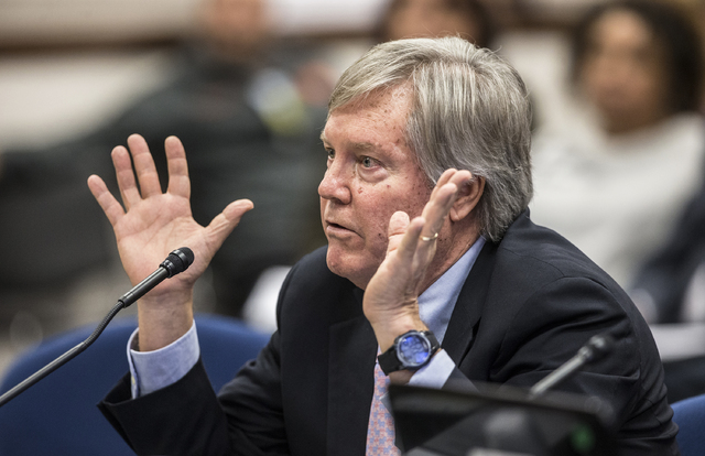 Sen. Tick Segerblom, D-Las Vegas, addresses members of the Senate Government Affairs Committee during a meeting to discuss a resolution to replace Columbus Day with Indigenous People Day at the Ne ...