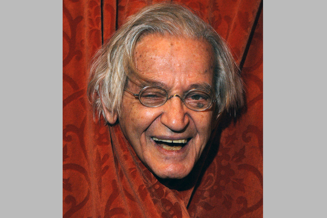 This April 24, 2004, photo shows comedian Irwin Corey at the Ethel Barrymore Theatre in New York. Corey, the wild-haired comedian and actor who was known for his nonsensical style and who billed h ...