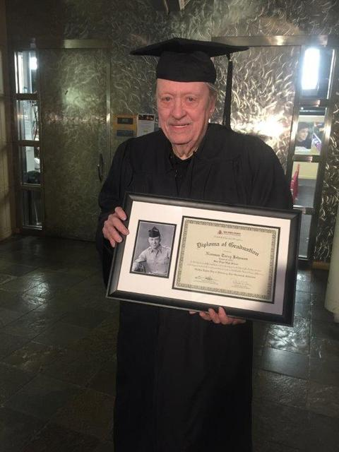 Veteran Las Vegas journalist and publicist Norm Johnson holds his high school diploma from San Diego High School on Feb. 8, 2017 (Courtesy)