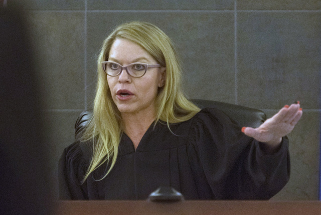 Judge Melanie Andress-Tobiasson, right, in her courtroom at the Regional Justice Center in Las Vegas, Monday, Oct. 24, 2016. Jason Ogulnik/Las Vegas Review-Journal