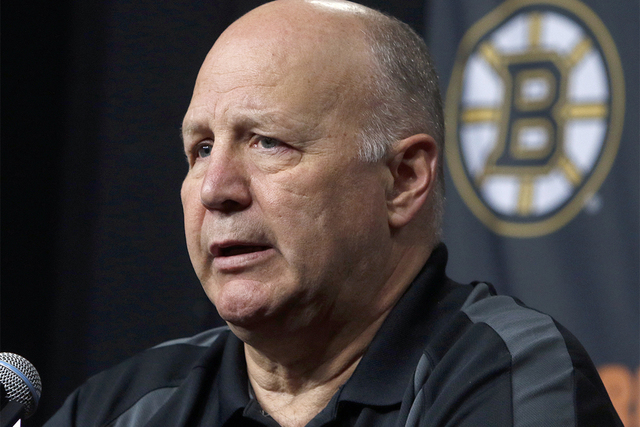 In this April 14, 2016 file photo, Boston Bruins head coach Claude Julien speaks at a news conference at TD Garden after the Bruins failed to reach the playoffs for the second straight year. On Tu ...