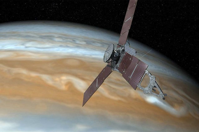 This undated image shows shows an artist's rendering of NASA's Juno spacecraft making a close pass over Jupiter. On Thursday, Feb. 23, 2017, NASA said its the spacecraft is stuck making long laps  ...