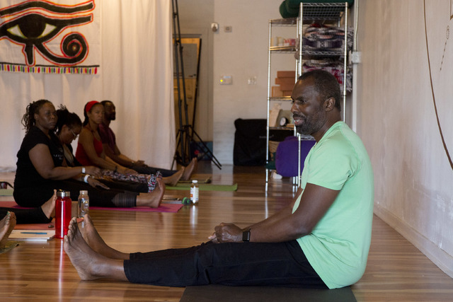 Yirser Ra Hotep lead a two-day Kemetic yoga workshop at the beginning of February in Las Vegas. Ra Hotep is a Chicago-based instructor and pioneer in the field of Kemetic yoga. (Bridget Bennett/La ...