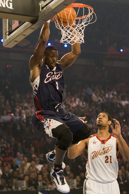 West player Caron Butler makes a dunk during the first half of the NBA All-Star Game at the Thomas & Mack Center Sunday, Feb. 18, 2007. (K.M. Cannon/Las Vegas Review-Journal)