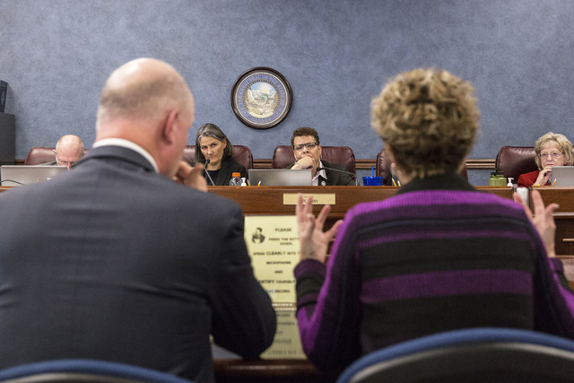 Sen. Julia Ratti, D-Sparks, left, and Sen. Pat Spearman, D-North Las Vegas, listen to testimony during a meeting of the Senate Committee on Health and Human Services at the Nevada Legislative sess ...