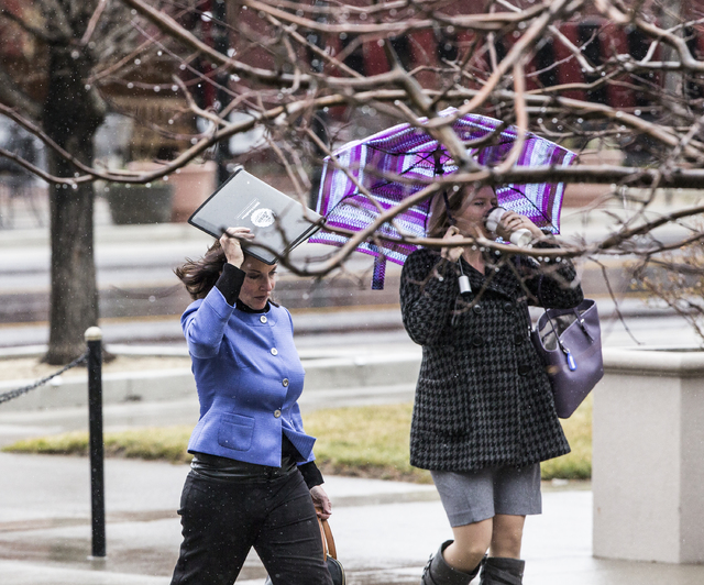 Rain and high winds continued on the third day of the Nevada Legislative session on Wednesday, Feb. 8, 2017, at the Legislative Building, in Carson City. (Benjamin Hager/Las Vegas Review-Journal)  ...