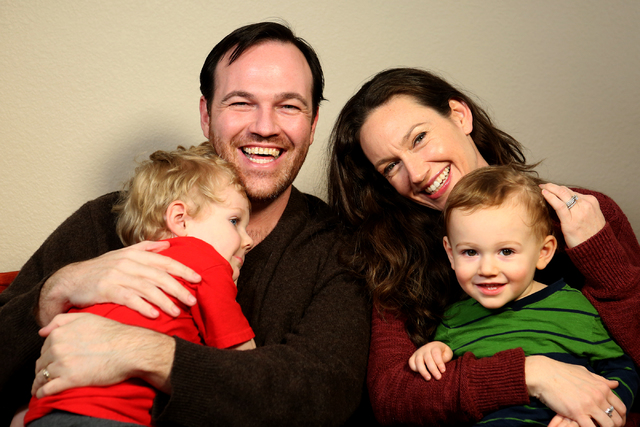 Matt Donnelly and his wife Sarah Lowe with their sons Keeler, left, and Hillier at their home in Henderson on January 19, 2017. (Michael Quine/Las Review-Journal) @Vegas88s