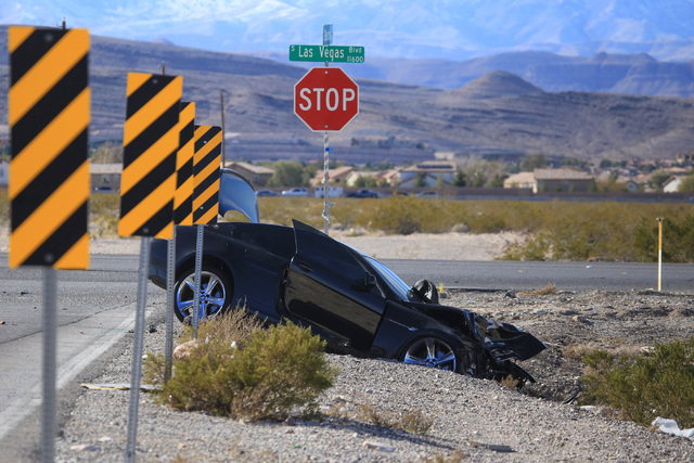 Police investigate a fatal accident involving a motorcycle at the intersection o Las Vegas Boulevard and Barbara Lane on Saturday, Feb. 4, 2017, in Las Vegas. (Brett Le Blanc/Las Vegas Review-Jour ...