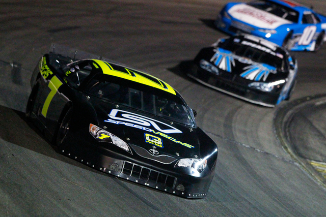 Noah Gragson of Las Vegas, 18, races at Senator's Cup Fall Classic at The Bullring at Las Vegas Motor Speedway in Las Vegas, NV on Oct. 29, 2016. (Jeff Speer/LVMS)