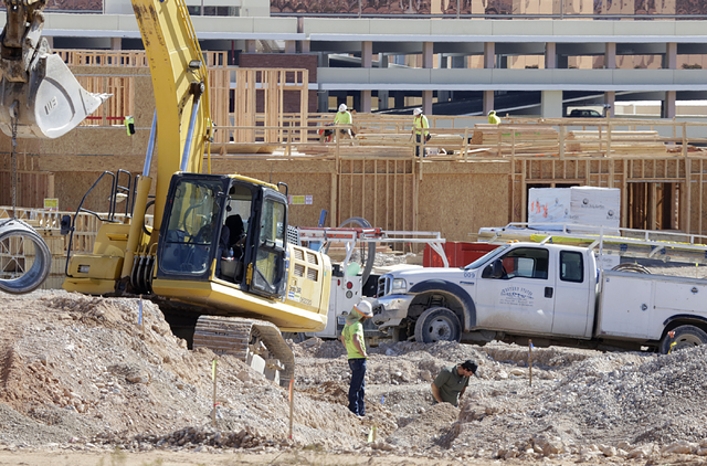 The construction site where William Lyon Homes is building a 46-acre project in Summerlin with plans for 485 homes and commercial space on the Southwest corner of Charleston Boulevard and 215 Belt ...