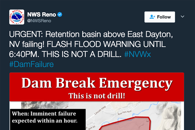 """The National Weather Service in Reno reported a retention basin """"failure."""" Screengrab (@NWSReno/Twitter)"""