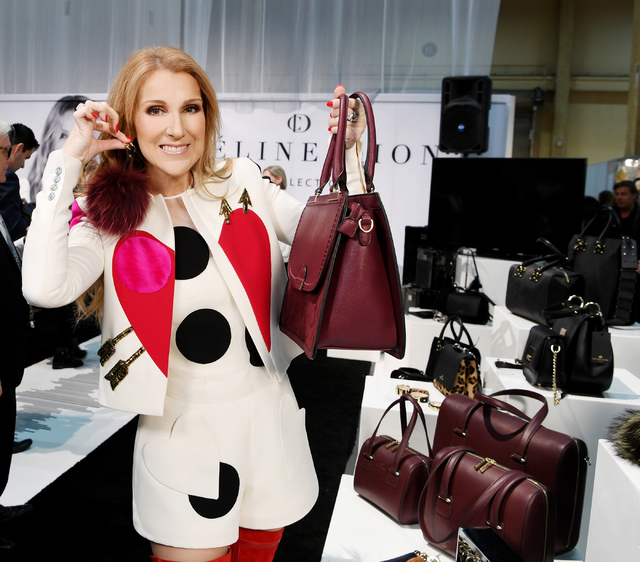 Celine Dion unveiled a handbag, luggage and accessories line Tuesday at MAGIC.  (Denise Truscello)