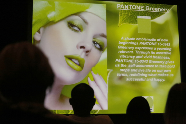A pantone color presentation during the MAGIC fashion convention at the Las Vegas Convention Center on Tuesday, Feb. 21, 2017, in Las Vegas. The presentation featured trendy colors and fashion for ...