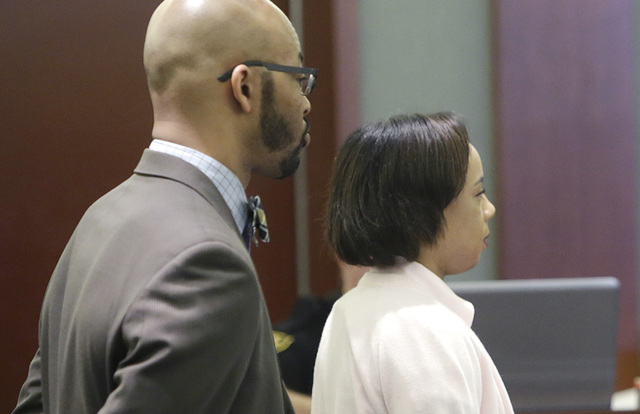 Roshaun Malone appears with her attorney Jonathan MacArthur at the Regional Justice Center during her child abuse trial on Friday, Feb. 3, 2017. (Bizuayehu Tesfaye/Las Vegas Review-Journal) @bizut ...