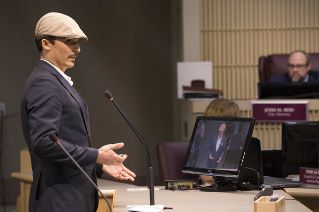 Taylor Howard speaks to Henderson city council members about recreational marijuana, dispensaries and the moratorium on Tuesday, Feb. 7, 2017, at Henderson City Hall in Henderson. (Bridget Bennett ...