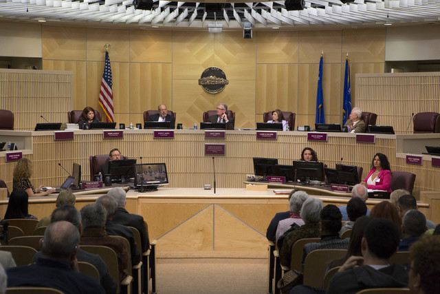 Henderson city council members prepare to vote on a moratorium on recreational marijuana on Tuesday, Feb. 7, 2017, at Henderson City Hall in Henderson. (Bridget Bennett/Las Vegas Review-Journal) @ ...