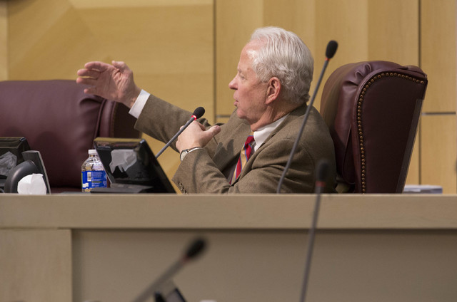 Recently-appointed councilman Dan Stewart ask questions regarding the moratorium on recreational marijuana on Tuesday, Feb. 7, 2017, at Henderson City Hall in Henderson. (Bridget Bennett/Las Vegas ...