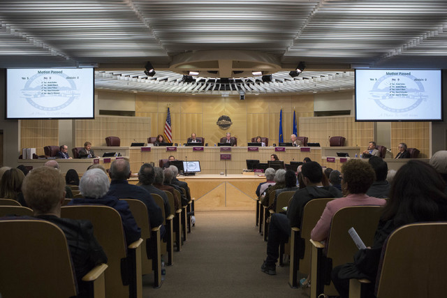 Henderson city council members vote unanimously in favor of a moratorium on recreational marijuana on Tuesday, Feb. 7, 2017, at Henderson City Hall in Henderson. (Bridget Bennett/Las Vegas Review- ...