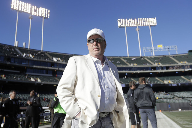 Oakland Raiders owner Mark Davis waits for the team's game against the Indianapolis Colts in Oakland, Calif., in December 2016. (AP Photo/Marcio Jose Sanchez, File)