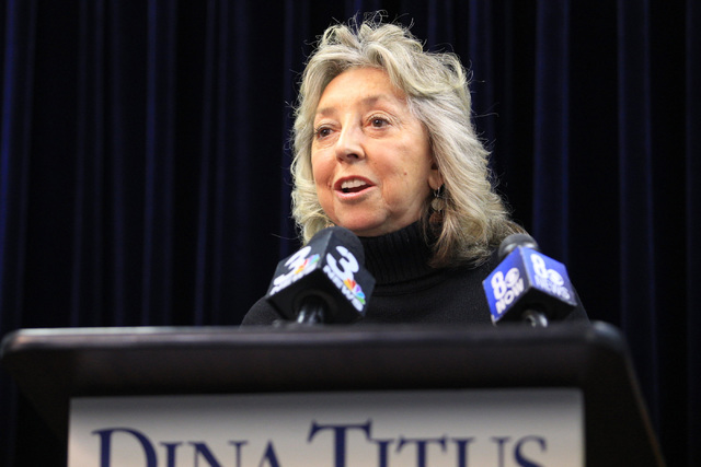 Representative Dina Titus, D-Nev., condemns the temporary immigration ban during a press conference at Dina Titus' office on Saturday, Jan. 28, 2017, in Las Vegas. (Brett Le Blanc/Las Vegas Review ...