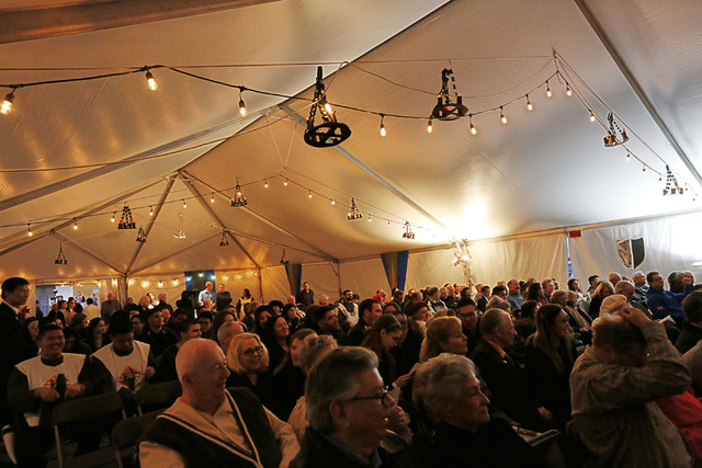 People attend Mass to celebrate St. Thomas Aquinas's feast day at UNLV Catholic Newman Center in Las Vegas, Sunday, Jan. 29, 2017, followed by a medieval feast. (Chitose Suzuki/Las Vegas Review-Jo ...