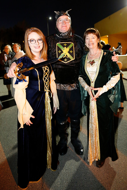 Mary McDonough from Las Vegas, left, with her parents Jeff and Ann during a medieval feast at UNLV Catholic Newman Center in Las Vegas, Sunday, Jan. 29, 2017. (Chitose Suzuki/Las Vegas Review-Jour ...