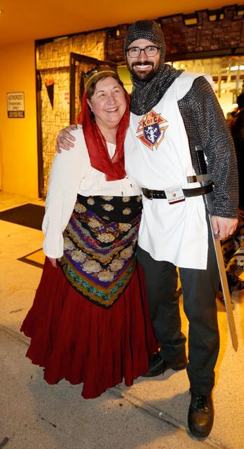 Lisa Sullivan, event coordinator, with Michael Caster of Las Vegas during a medieval feast at UNLV Catholic Newman Center in Las Vegas, Sunday, Jan. 29, 2017. (Chitose Suzuki/Las Vegas Review-Jour ...