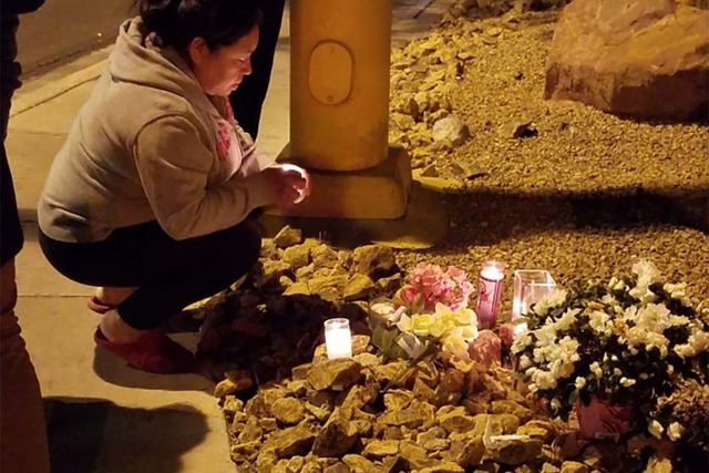 Ricarda España pays respects to her niece, Jazmin Honorato España at the site where the 11-year-old died Wednesday afternoon. (Mike Shoro/Las Vegas Review-Journal)