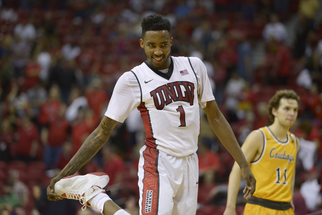 UNLV forward Derrick Jones Jr. stretches before a free throw during a Mountain West game against Wyoming on Feb. 27, 2016, at the Thomas & Mack Center. UNLV won 79-74. (Sam Morris/Las Vegas Ne ...