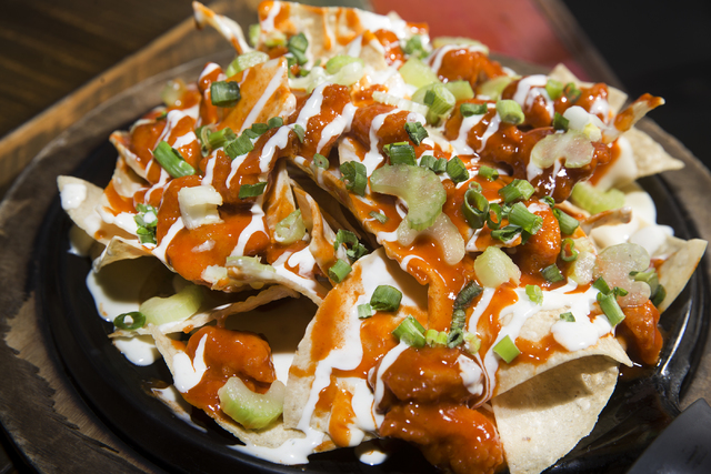 "The ""Brady's Buffalo Hot Nachos"", named for the New England Patriots in advance of their Super Bowl appearance, at Nacho Daddy restaurant on Thursday, Jan. 26, 2017, in Las Vegas ..."