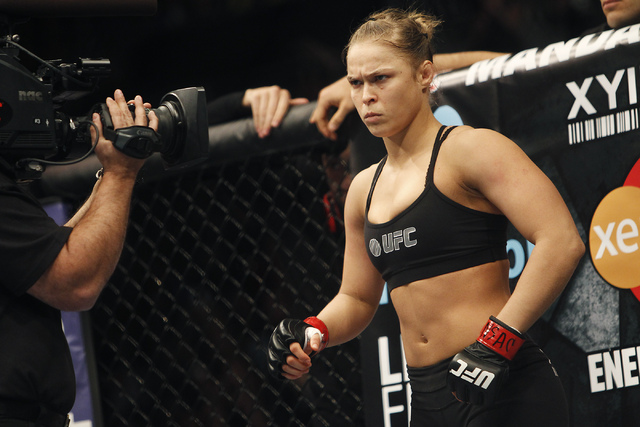 Ronda Rousey prepares to fight Sara McMann during UFC 170 at the Mandalay Bay Events Center in Las Vegas on Saturday night, Feb. 22, 2014.  (Jason Bean/Las Vegas Review-Journal)